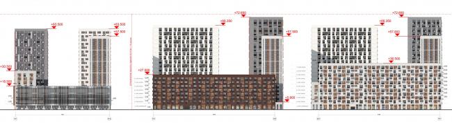 Жилой комплекс «ТЫ И Я». Схема фасада A  в  осях © ОЛИМПРОЕКТ