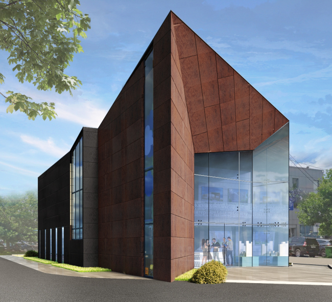 """The sales office building of """"Seliger City"""" residential complex © Architecturium"""