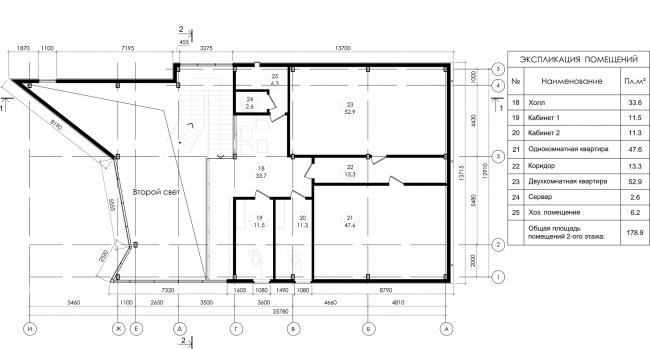 Здание офиса продаж ЖК «Селигер Сити». План 2 этажа  © Архитектуриум