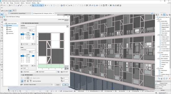 Редактирование рисунка в диалоговом окне «Параметры навесной стены» для изменения дизайна фасада GRAPHISOFT®
