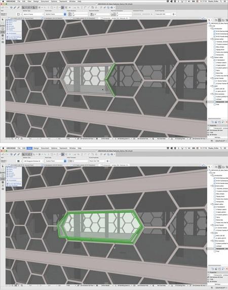 Использование режима редактирования для внесения определенных изменений в одну часть навесной стены, не затрагивая остальную часть фасада, определяется настройками в диалоговом окне GRAPHISOFT®