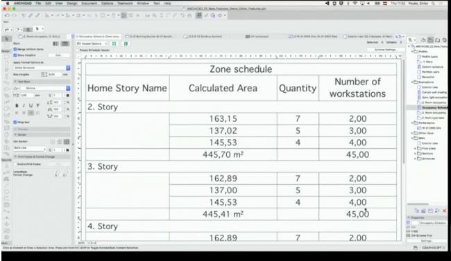 GRAPHISOFT® В этом примере с помощью формул рассчитано возможное количество рабочих мест, исходя из различных параметров