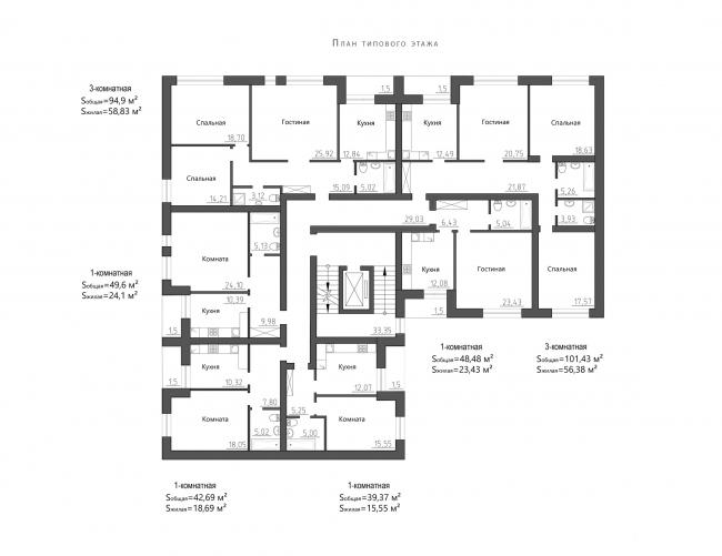 Жилой комплекс Urban Ranch. План секции Б © АБ «Модус»
