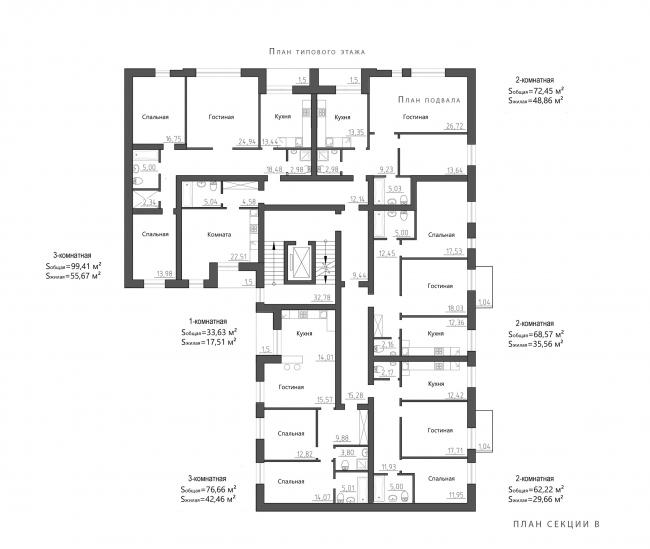 Жилой комплекс Urban Ranch. План секции В © АБ «Модус»