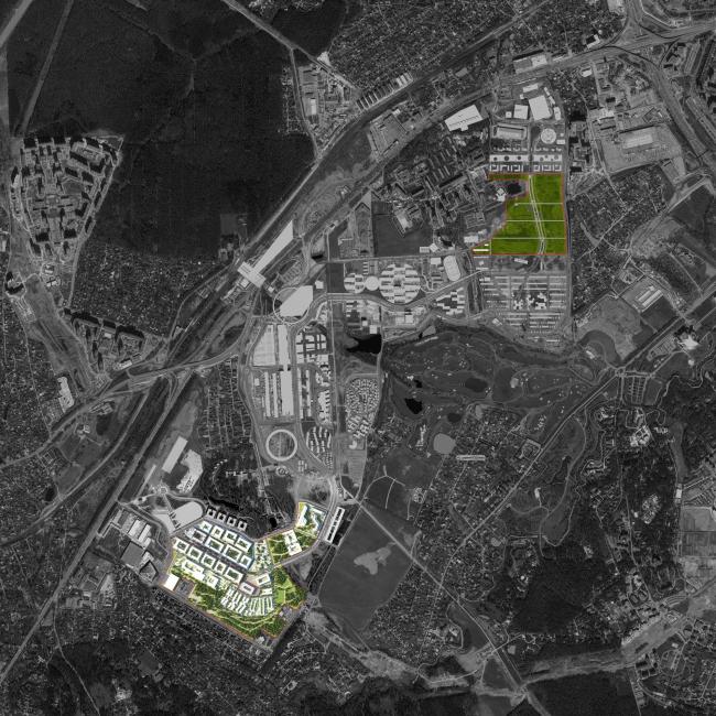 Международный медицинский кластер в Сколково.  Генплан с указанием территорий, арендованных Правительством Москвы для размещения объектов ММК. Изображение предоставлено Архитектурным бюро Асадова