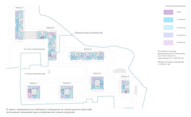 ЖК «Лесопарковый». Схема плана 12 этажа