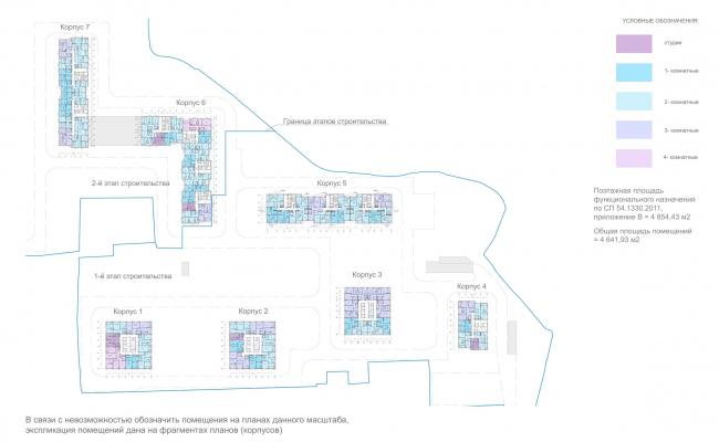 ЖК «Лесопарковый». Схема планов 13-19 типовых этажей