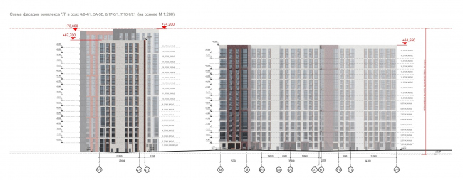 ЖК «Лесопарковый». Схема фасадов комплекса Л в осях