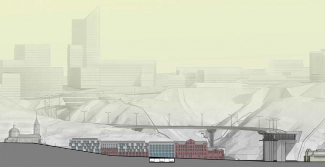 Редевелопмент территории мукомольного комбината. Развертка по ул. Гаршина © ПТМА