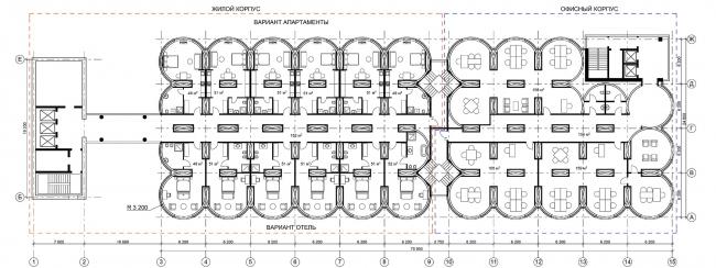 Редевелопмент территории мукомольного комбината. МФК «Элеватор». План типового этажа © ПТМА