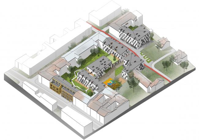 Жилой комплекс с офисным зданием по ул. Городоцкой во Львове. Общая схема © АБ «Модус»