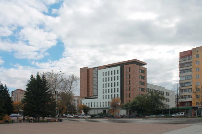 Гостиница на площади Советской Армии. Вид от мемориала «Черный тюльпан» (с площади Советской Армии) © АБ Center