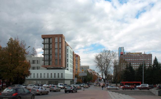 Гостиница на площади Советской Армии. Вид по ул. Первомайская от окружного дома Офицеров © АБ Center