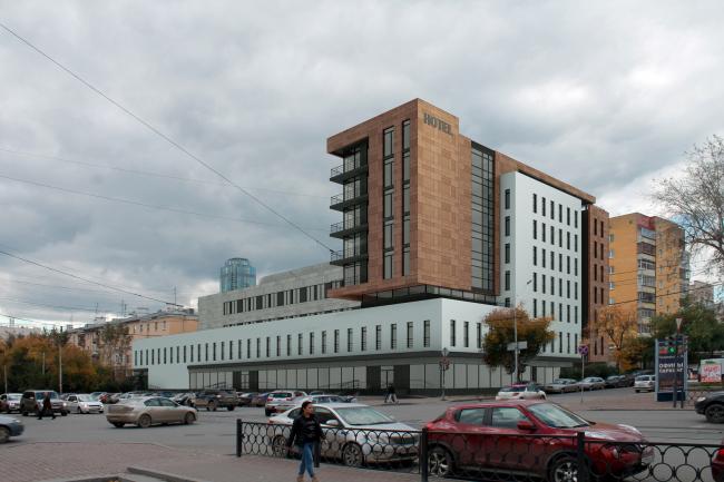 Гостиница на площади Советской Армии. Вид с перекрестка ул. Луначарского и Первомайская © АБ Center