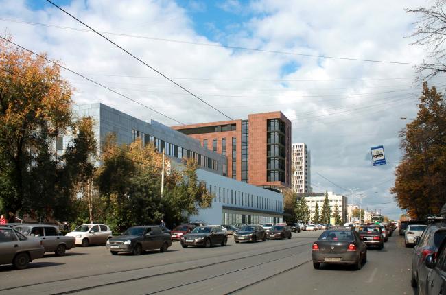 Гостиница на площади Советской Армии. Вид с ул. Луначарского от гостиницы  Исеть © АБ Center