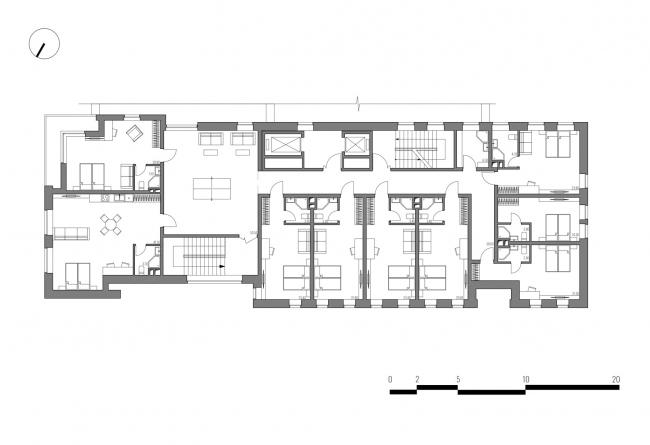 Гостиница на площади Советской Армии. План типового этажа © АБ Center