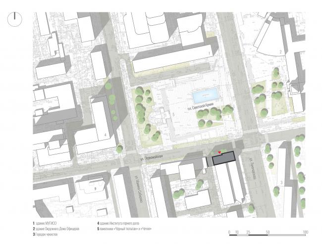 Гостиница на площади Советской Армии. Ситуационный план © АБ Center