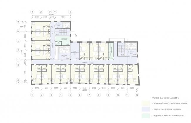 Отель «Mercure». План типового этажа © Архитектурное бюро «А.Лен»