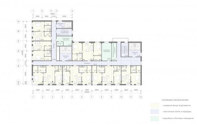 Отель «Mercure». План типового этажа. Апартаменты