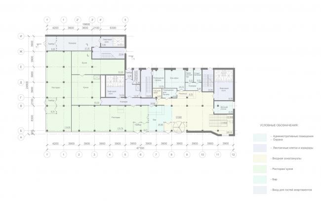 Отель «Mercure». План 1 этаж © Архитектурное бюро «А.Лен»