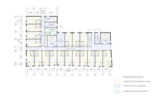 Отель «Mercure». План 3-9 этажа © Архитектурное бюро «А.Лен»
