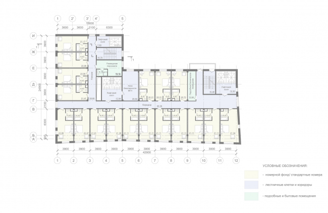 Mercure Hotel. Plan of the 3-9 floor