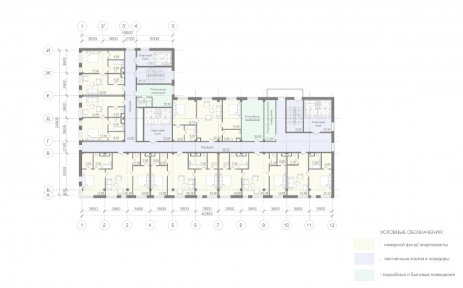 Отель «Mercure». План 10-11 этажей