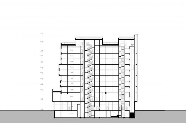 Отель «Mercure». Разрез 1 © Архитектурное бюро «А.Лен»