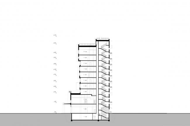 Отель «Mercure». Разрез 2 © Архитектурное бюро «А.Лен»