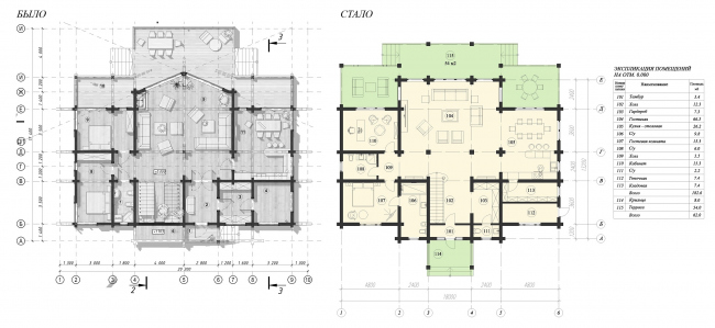 Plan of the 1st floor: before and after © ASB Carlson & K