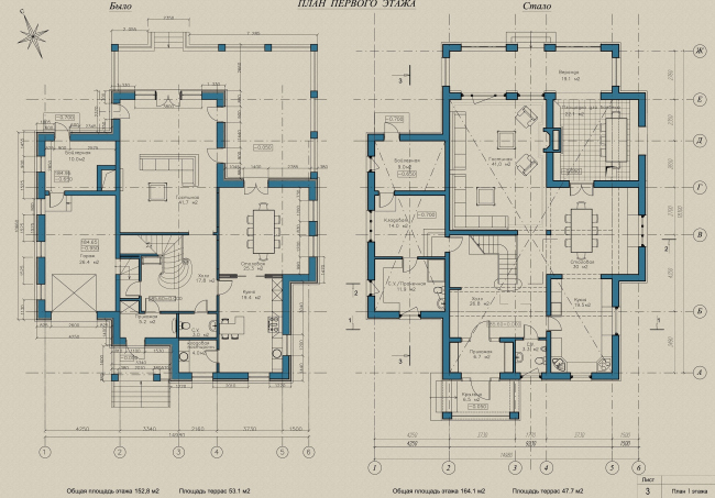 """Villa """"Svetlana"""", plan of the first floor: before and after © ASB Carlson & K"""