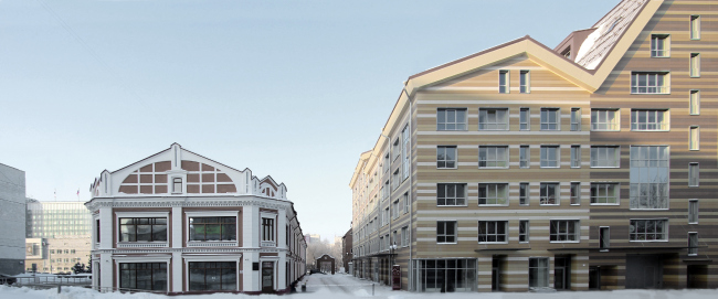 ASTRA housing complex and the reconstruction of Perm′s shopping arcades of the XIX century. SYNCHROTECTURE © Provided by the architects