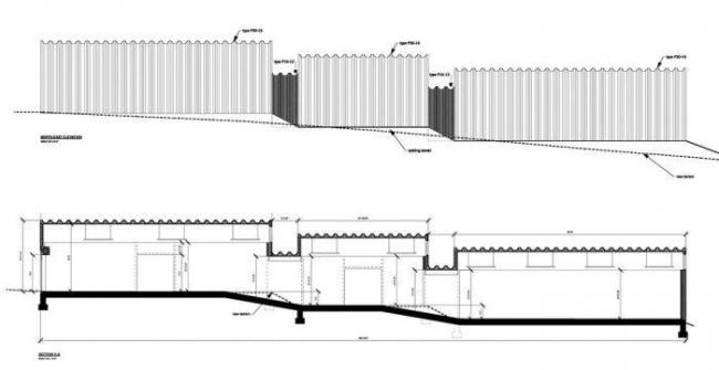 Галерея ArtFarm. Фасад, разрез © HHF Architects