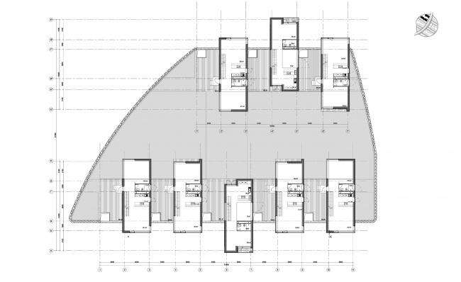 Часть 10.6, этажи 3-2. Инновационный центр «Сколково. Технопарк». Жилой квартал №10 © UNK project