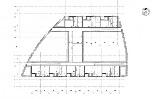Часть 10.6, этажи 2-1. Инновационный центр «Сколково. Технопарк». Жилой квартал №10 © UNK project