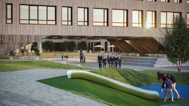 Гимназия А+, реализация, двор © Архиматика. Фотография © Александр Ангеловский