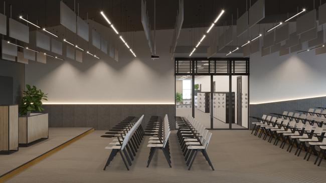 Гимназия А+, проект. Интерьер зала для лекций  © Архиматика