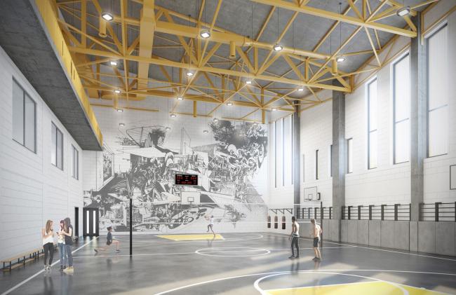 Гимназия А+, проект. Интерьер спортзал  © Архиматика