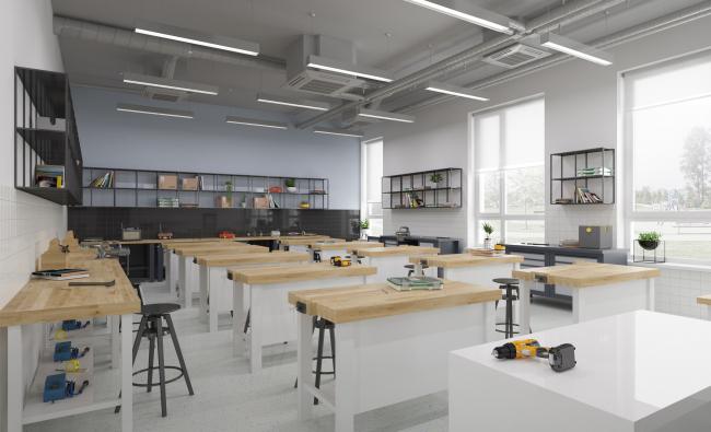 Гимназия А+, проект. Кабинет труда  © Архиматика