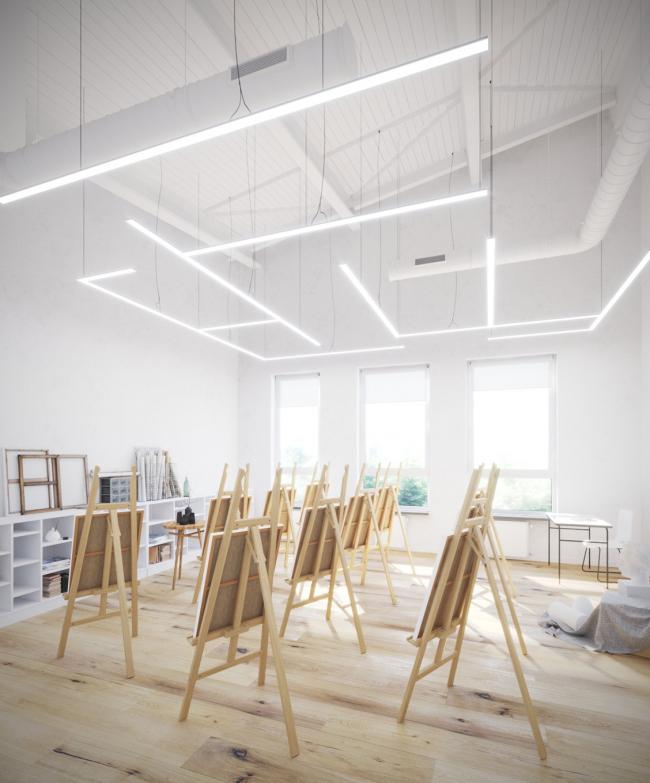 Гимназия А+, проект. Интерьер кабинета рисования © Архиматика