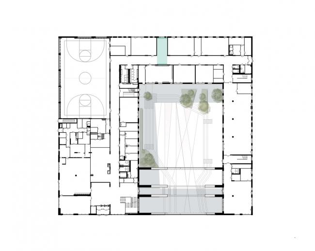 Gymnasium A+, construction. Plan of the 1st floor © Archimatika