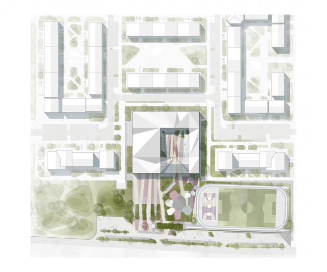 Гимназия А+, проект. Генплан © Архиматика