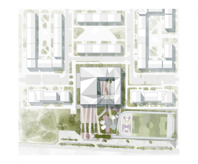 Gymnasium A+, project. The master plan © Archimatika