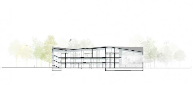 Gymnasium A+, construction. Longitudinal sectioin view © Archimatika
