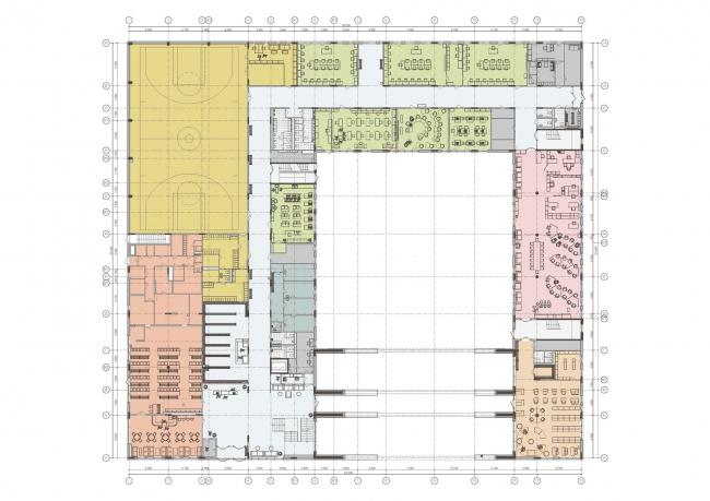 Гимназия А+, проект. Планировка 1 этажа © Архиматика