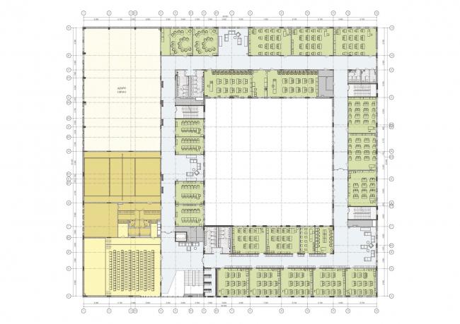 Гимназия А+, проект. Планировка 2 этажа © Архиматика