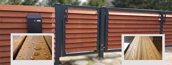 Слева – ThermoWood, справа – композит. Фото с сайта компании  «ЗАБОР-МОДЕРН РУ»