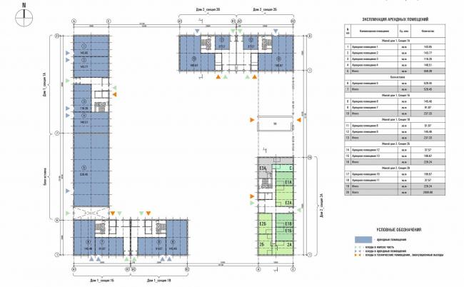 «Квартал Квартет». Схема блокировки. Первый этаж © sp architects