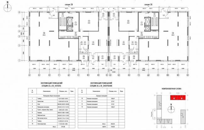 «Квартал Квартет». Дом №2. Секция 2Б и 2В (Северная скоба). План 1 этажа © sp architect