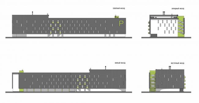 «Квартал Квартет». Закрытый многоуровневый паркинг. Фасады